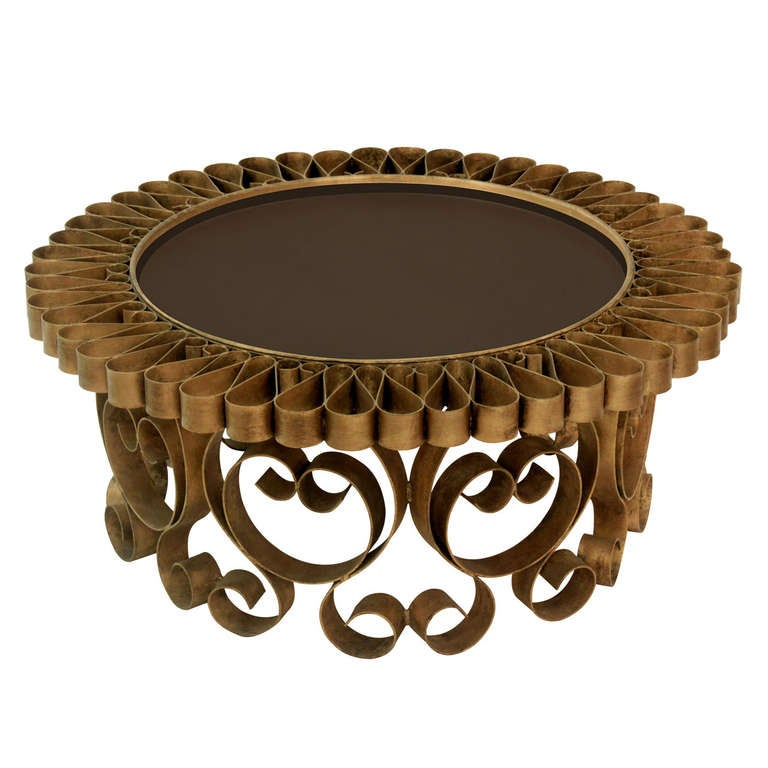 Wonderful Studio Made Gilded Coffee Table In Flower Motif With Bronze Glass Top 1