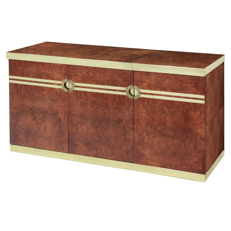 Lift-Top Bar with Brass Accents by Pierre Cardin For Sale