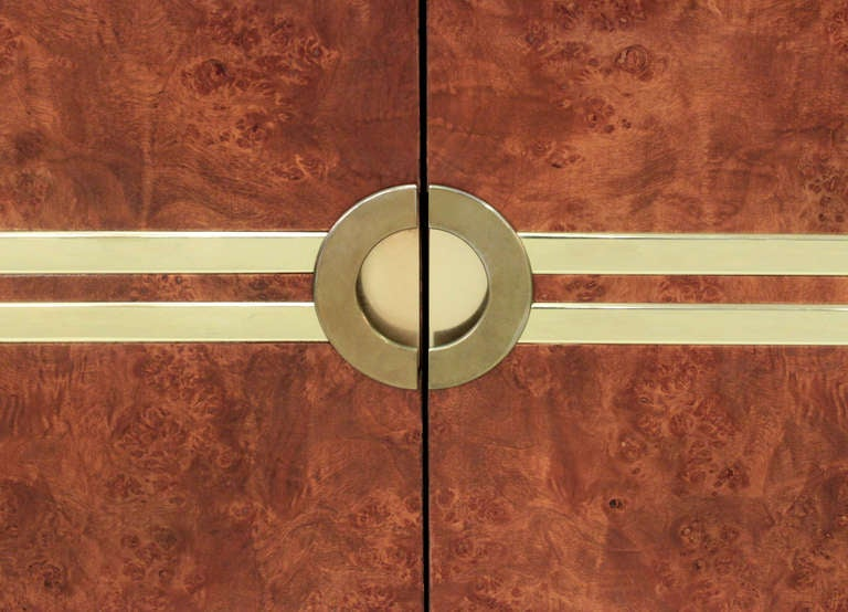 American Lift-Top Bar with Brass Accents by Pierre Cardin For Sale