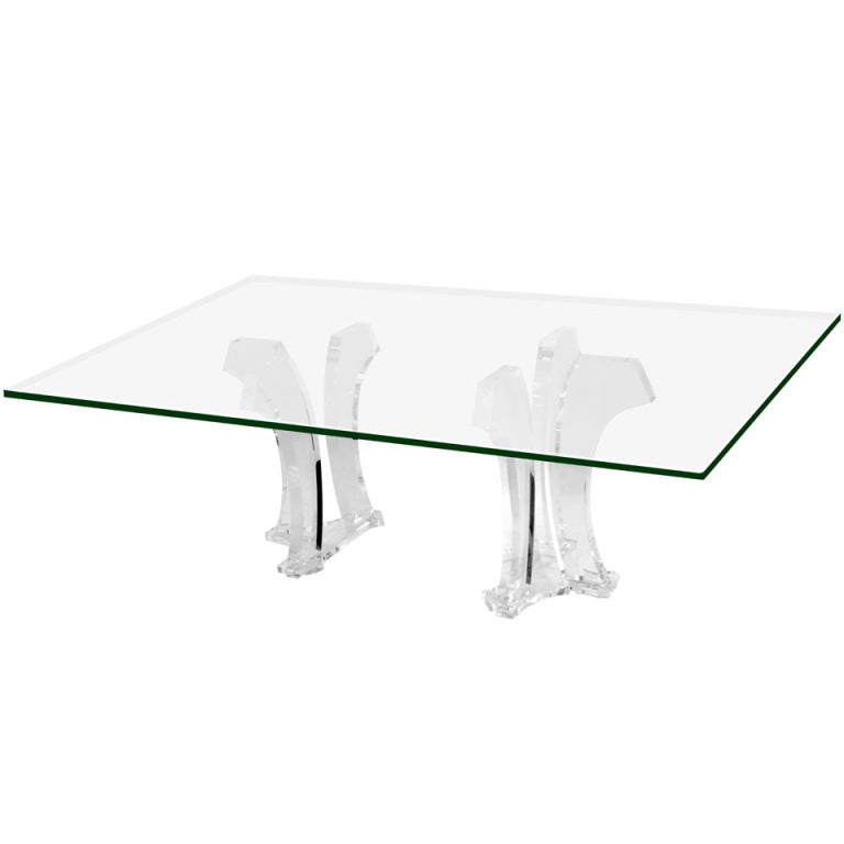 Sculptural Dining Table with Thick Lucite Bases by Jeffrey Bigelow at ...