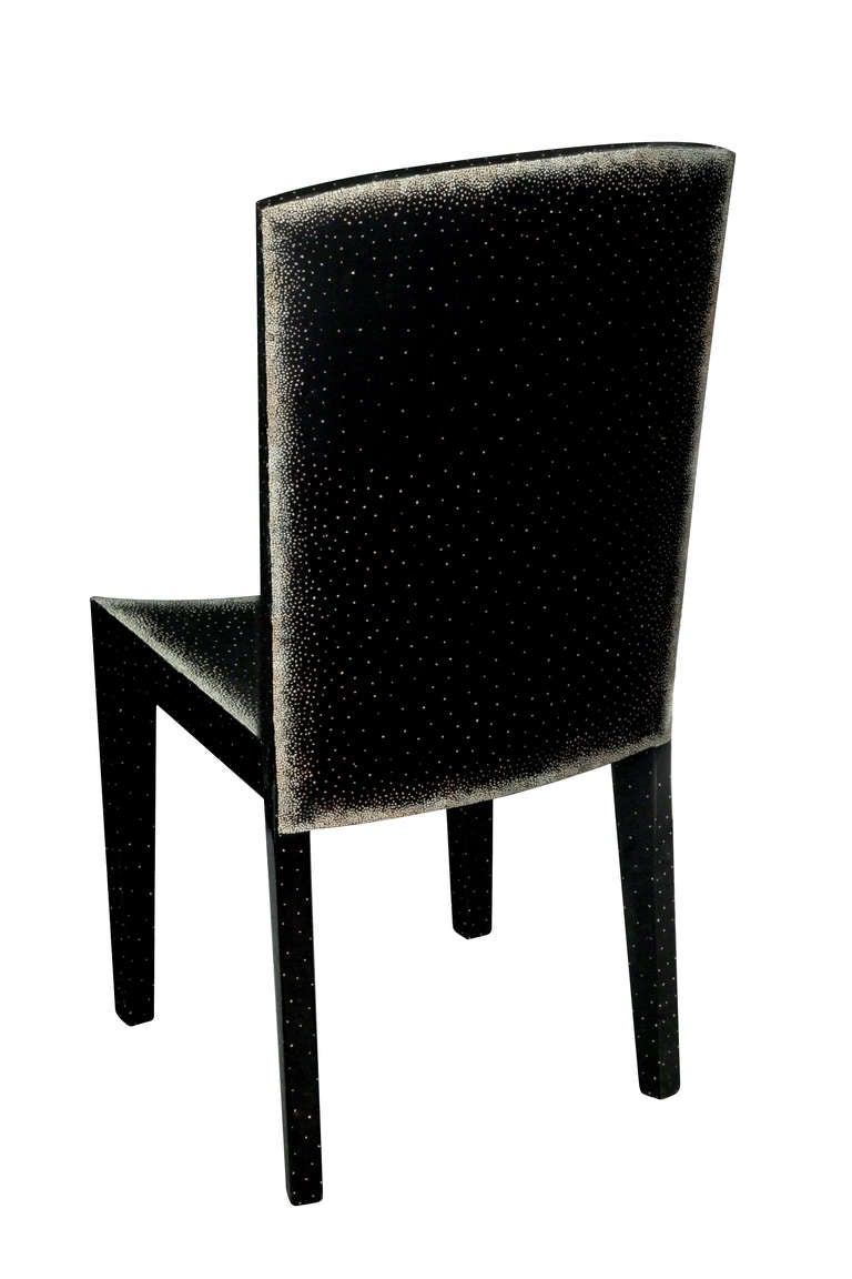 Side/Desk chair in a hand-applied black lacquer with egg shell decoration 