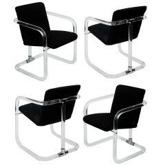 Set of 4 Lucite Dining/Game Chairs by Lion in Frost