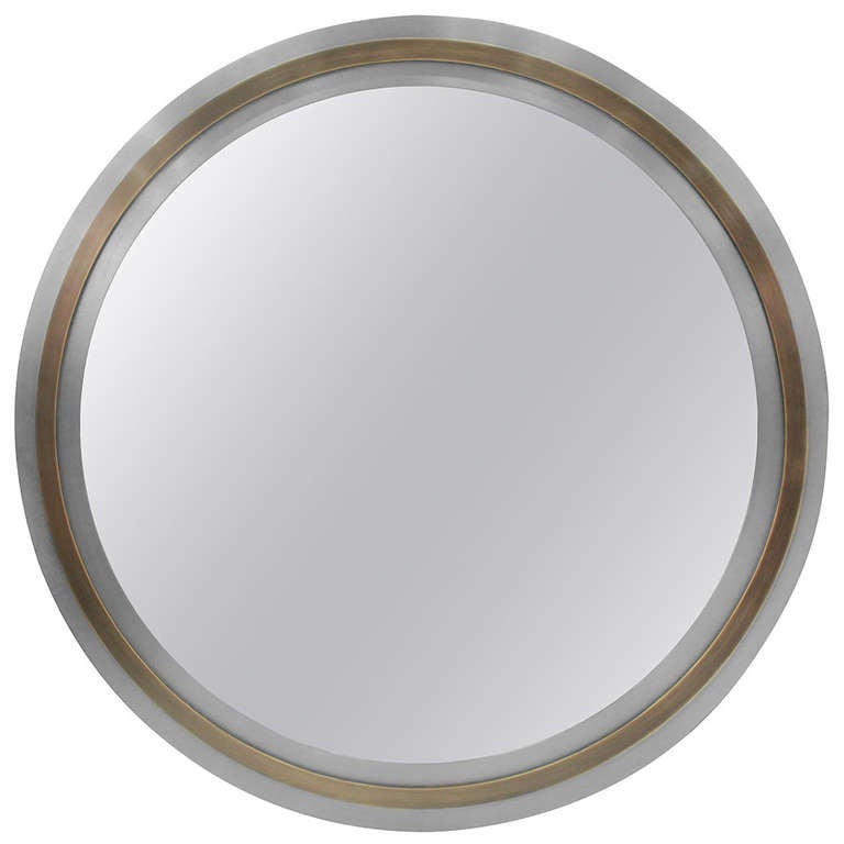 Round Mirror With Mixed Metal Frame At 1stdibs