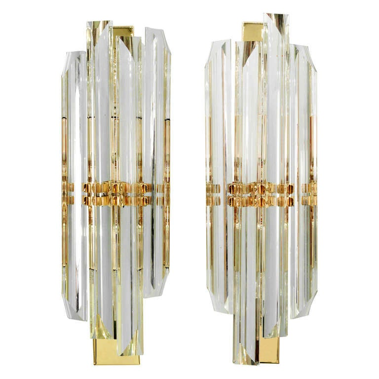 Glass Rod Wall Sconces : Pair of Elegant Glass Rod Sconces by Sciolari at 1stdibs