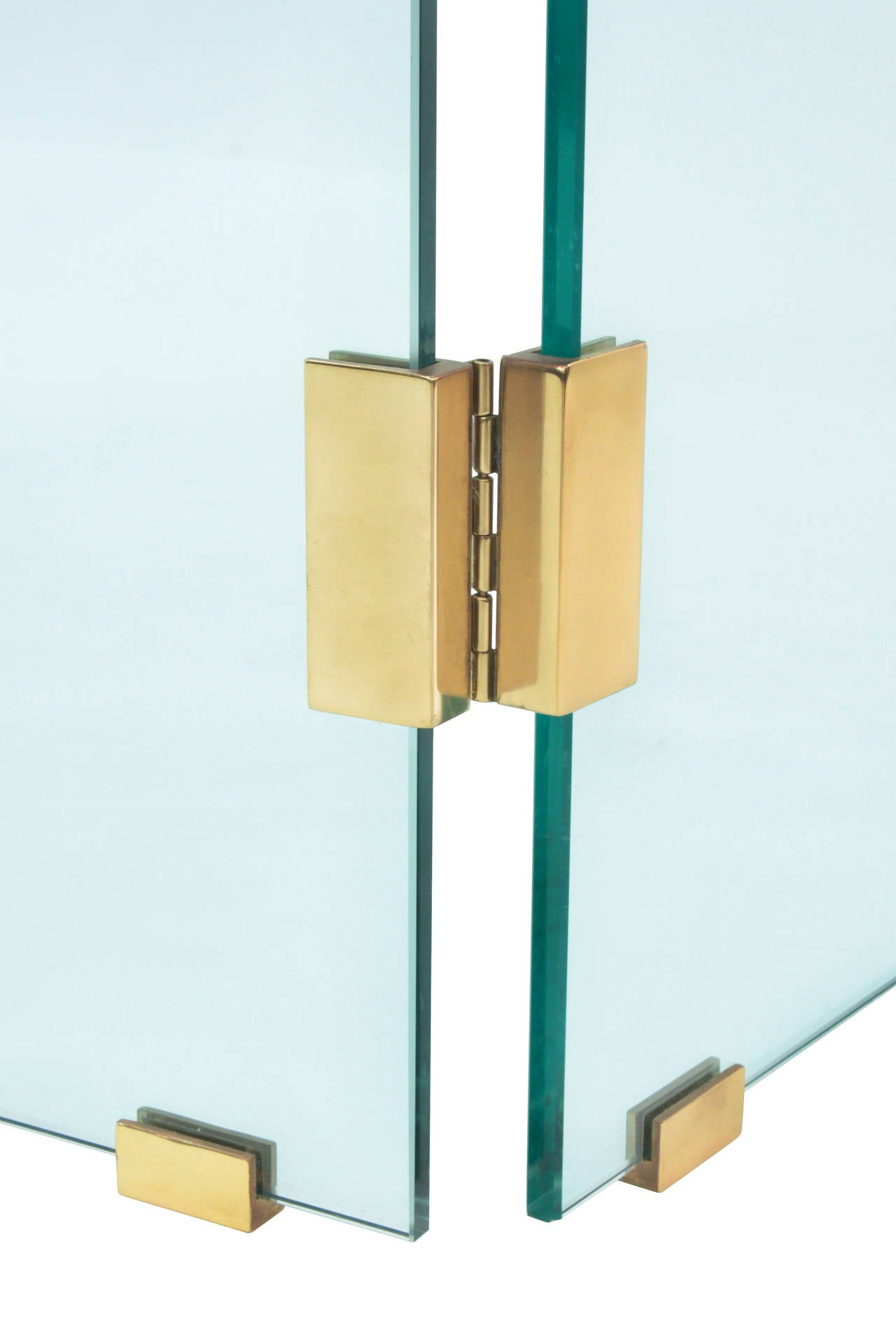 glass fireplace screen with brass hinges by danny alessandro at