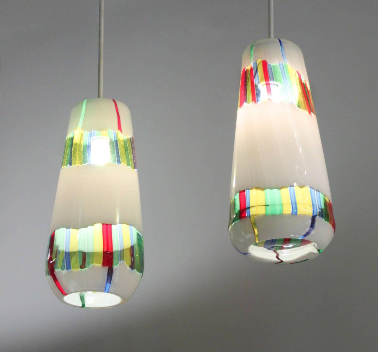 pair of rare hand blown glass bandiere pendant lights by anzolo blown glass pendant lights