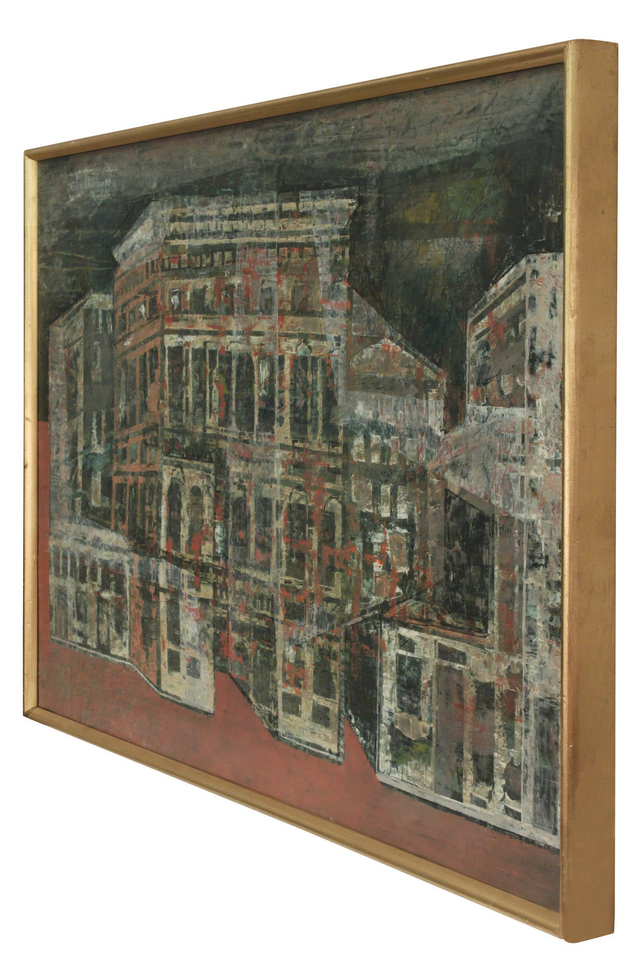 Abstract Venetian cityscape painting by Olivier Charles, Venice, 1959. (Signed