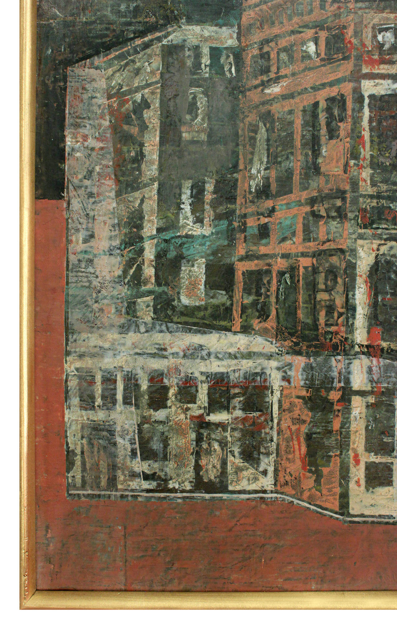 Mid-Century Modern Abstract Venetian Cityscape Painting by Olivier Charles For Sale