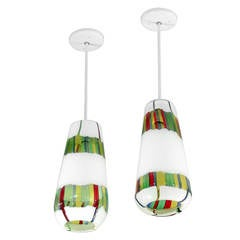 "Pair of Rare Handblown Glass ""Bandiere"" Pendant Lights by Anzolo Fuga"