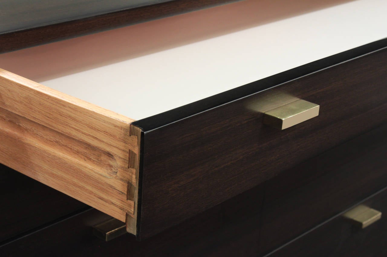 Cabinet In Dark Mahogany With Brass Pulls By Harvey