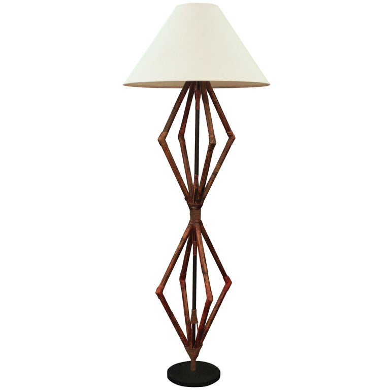 Large Sculptural Bamboo Floor Lamp At 1stdibs