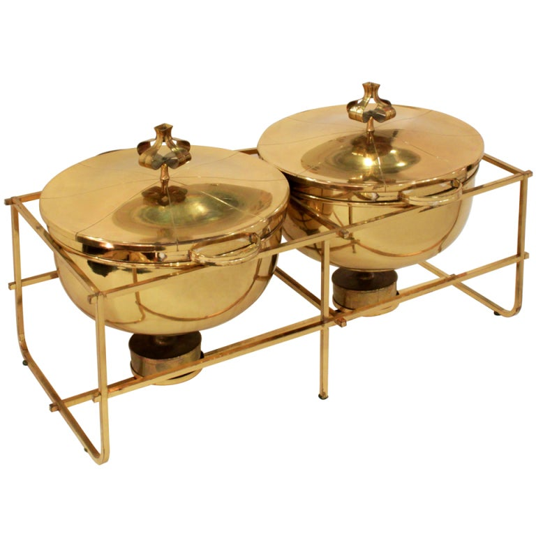 double chafing dish set in brass by tommi parzinger at 1stdibs. Black Bedroom Furniture Sets. Home Design Ideas