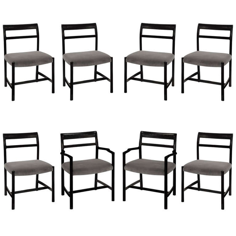set of 8 dining chairs in ash by roger sprunger for dunbar