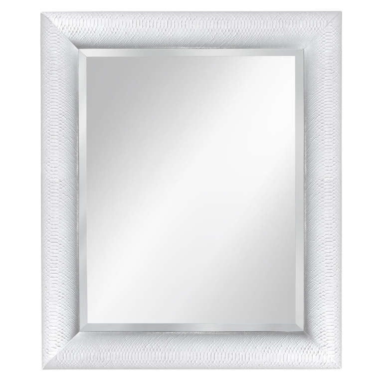 Karl Springer white snakeskin mirror, 1970s