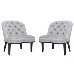 Pair of Tufted-Back Slipper Chairs by Edward Wormley