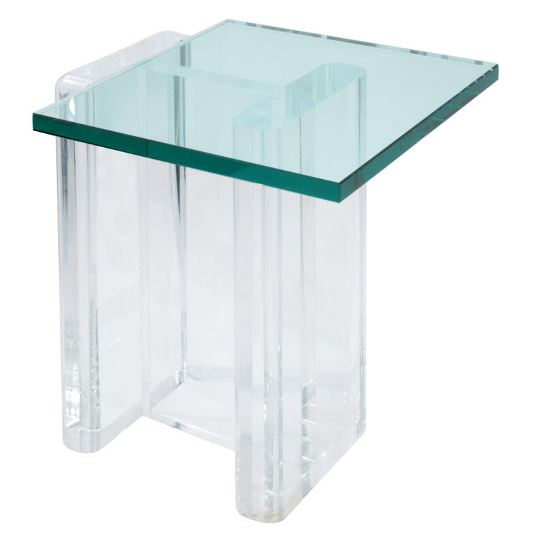 Sculptural lucite occasional table with glass top at 1stdibs for Glass top occasional tables