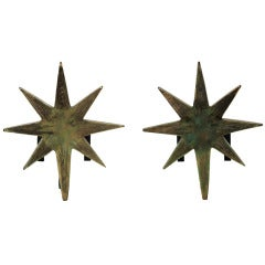 Pair of Giacometti Inspired Star Andirons