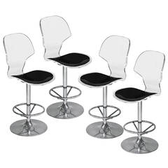 Set of 4 Counter Height Swiveling Bar Stools in Molded Lucite