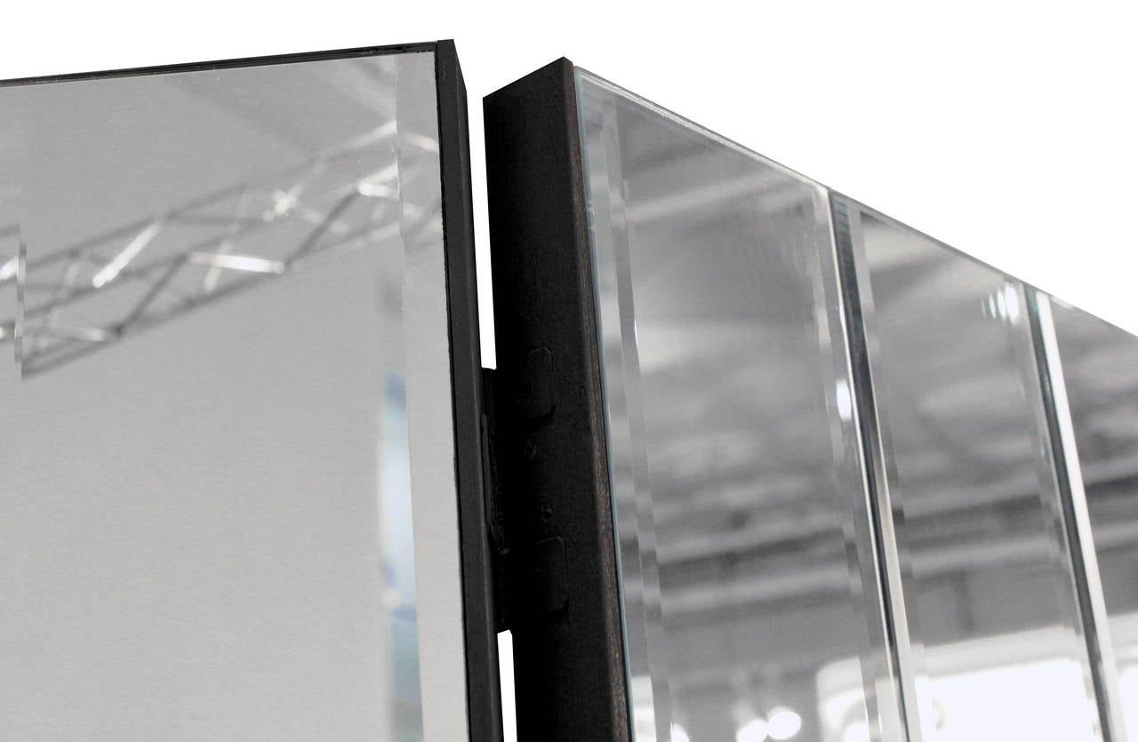 Chic three panel beveled mirror screen for sale at 1stdibs - Mirror screen ...