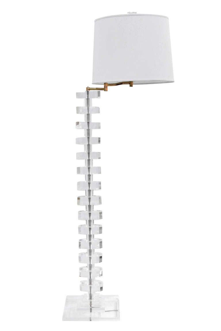 Impressive Sculptural Lucite Swing-Arm Floor Lamp 2