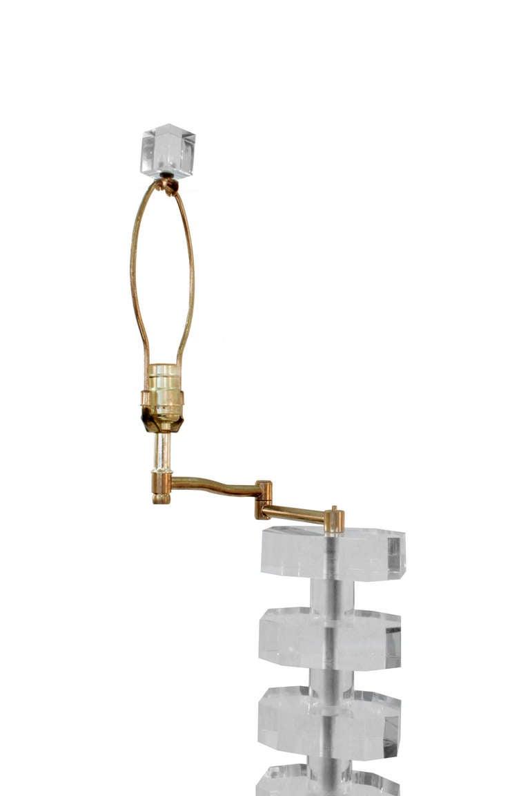Impressive Sculptural Lucite Swing-Arm Floor Lamp 4