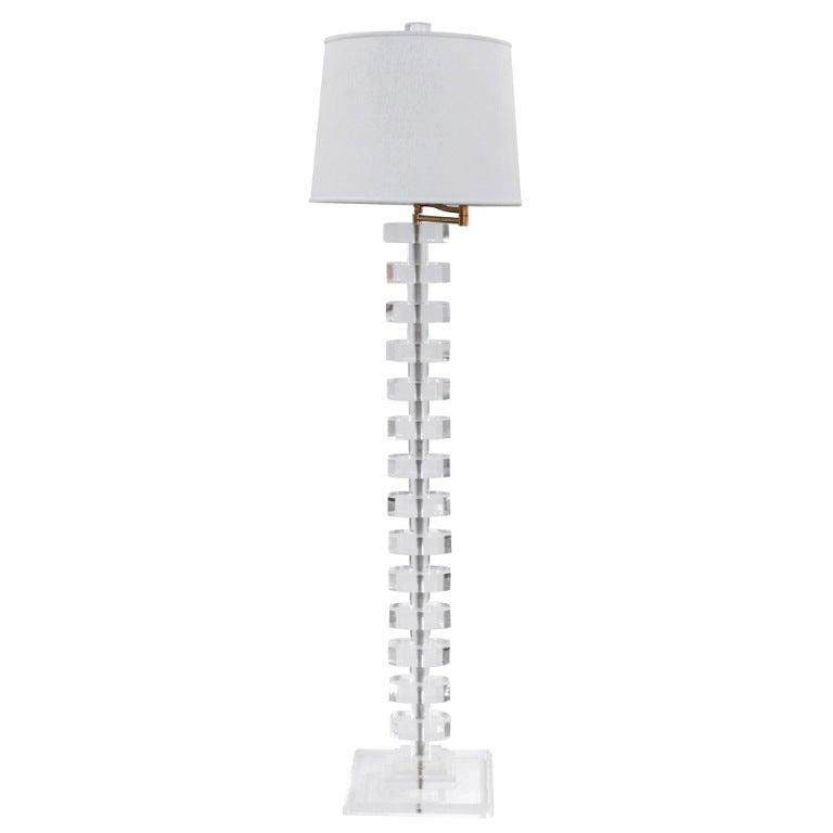 Impressive Sculptural Lucite Swing-Arm Floor Lamp 1