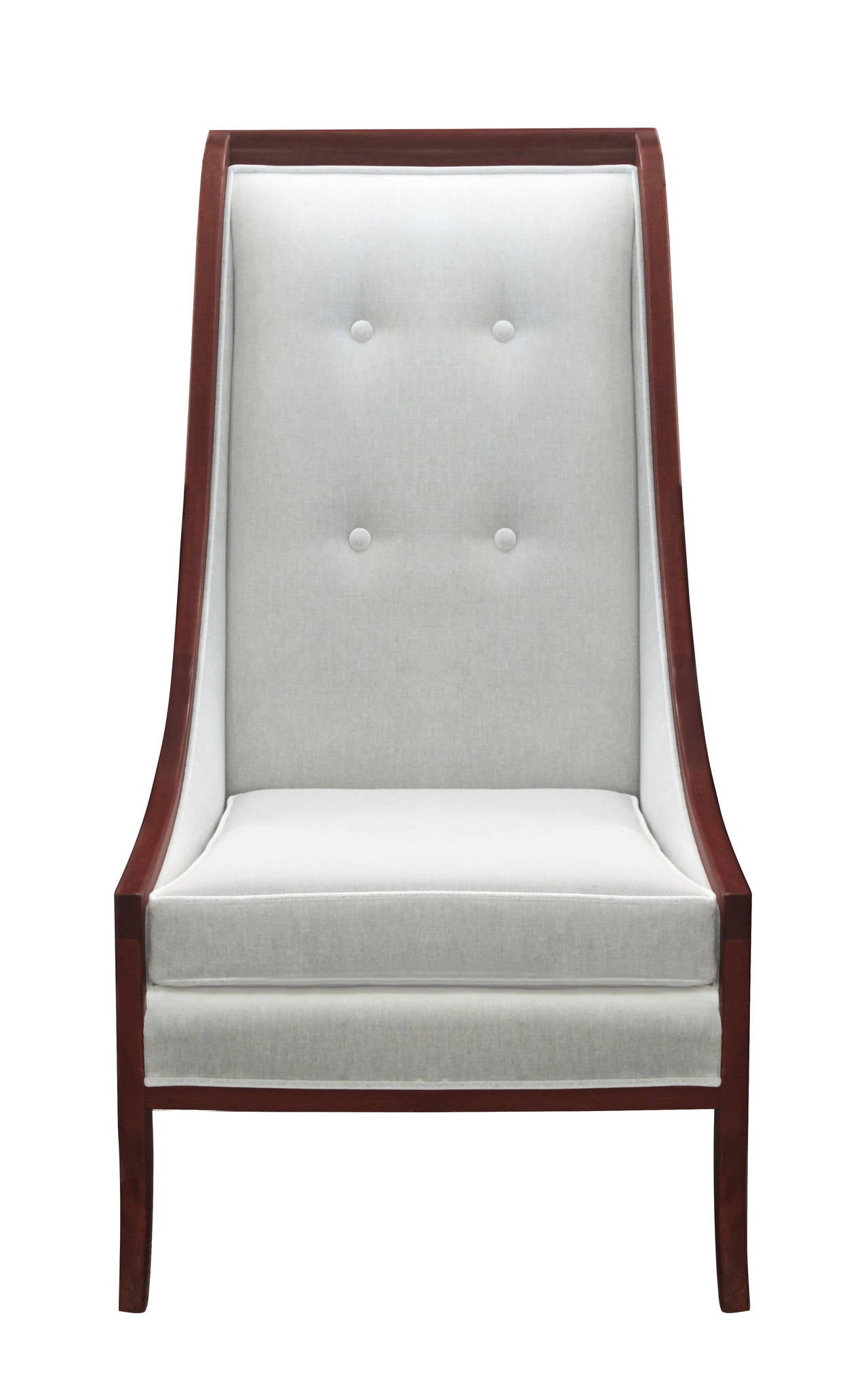 High back lounge chairs - Pair Of High Back Lounge Chairs Framed In Mahogany By John Widdicomb 2