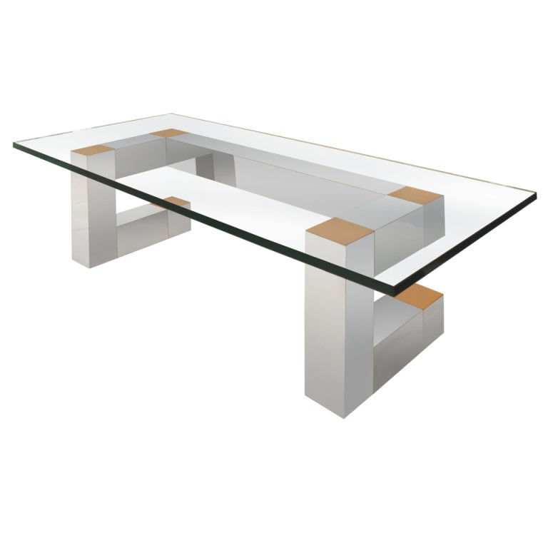 Habitat Herrmann Square Glass Coffee Table: Aluminum And Brass Coffee Table By Habitat At 1stdibs