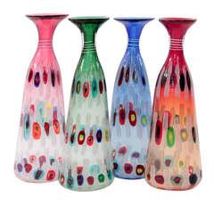 """Anzolo Fuga Handblown Glass Vases from the """"Murrine Incatenate"""" Series"""