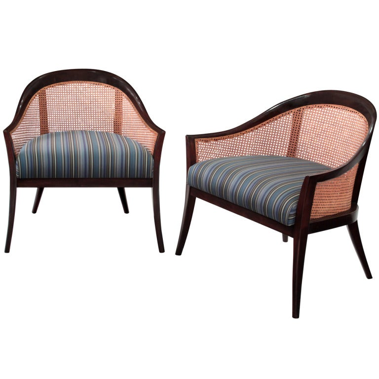 Pair Of Lounge Chairs With Indian Cane Back By Harvey