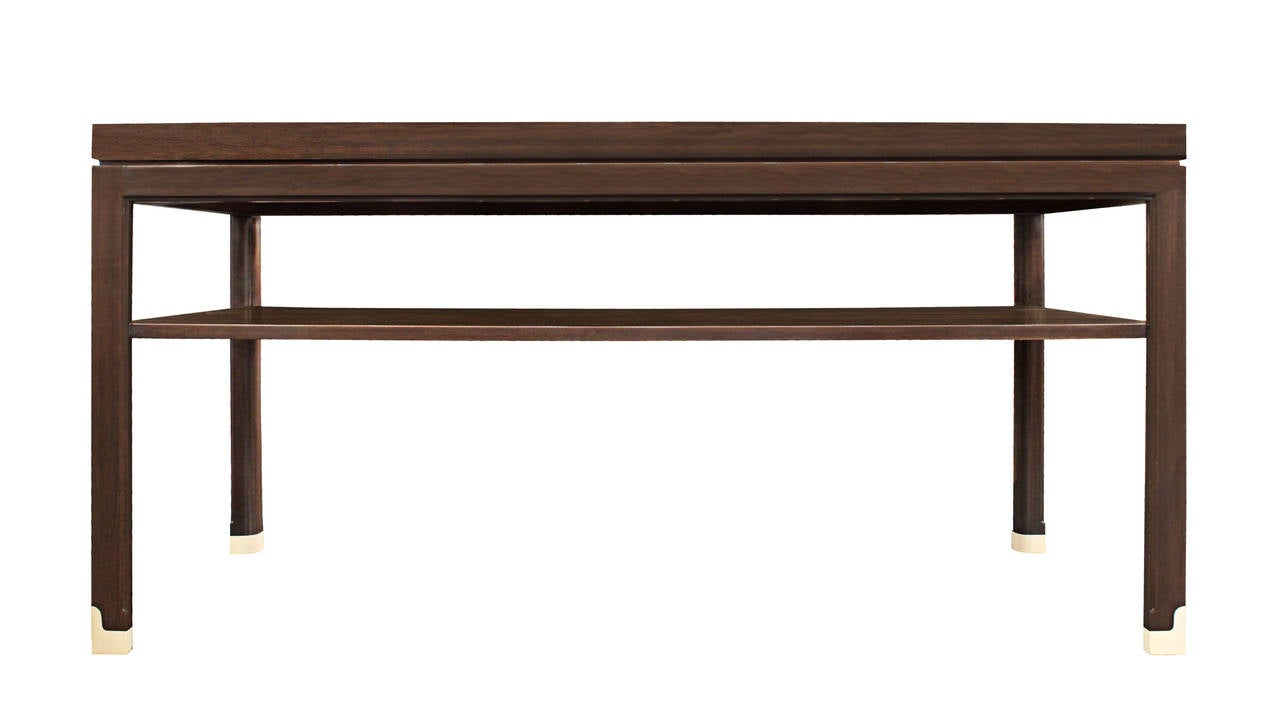 Long Side Or Console Table In Mahogany With Shelf, Satinwood Inlays And  Sabots By Tommi