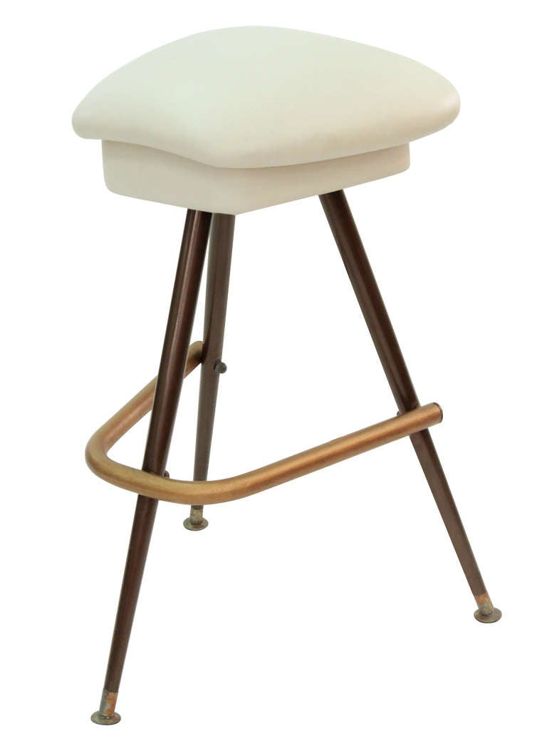 Set Of 3 Bar Stools With Bronze Bases And Leather Seats At