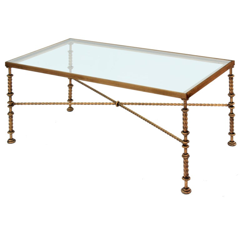 Bronze Coffee Table With Hand-turned Stretchers And Legs