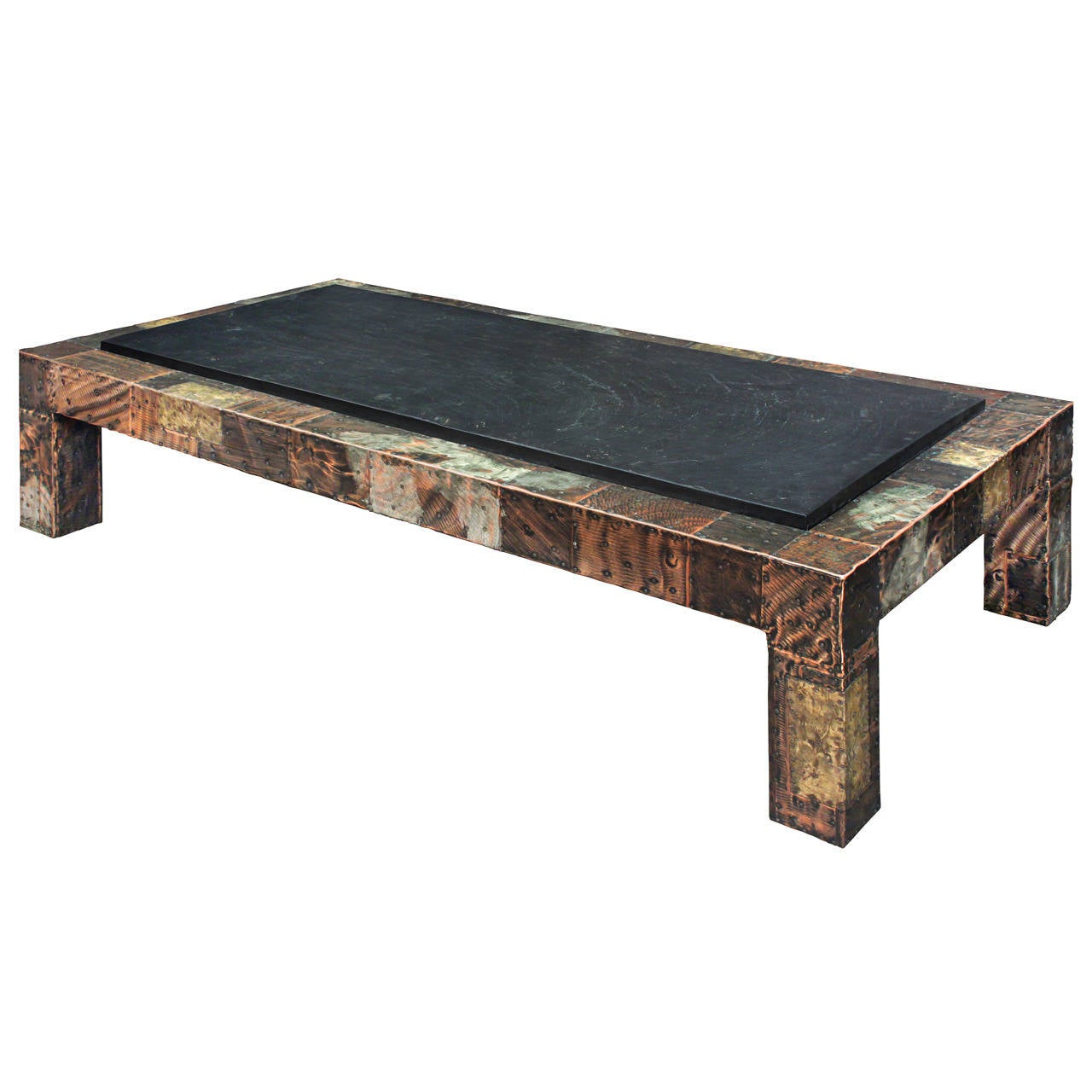Large patchwork coffee table with thick slate top by paul evans at 1stdibs Slate top coffee tables