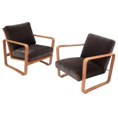 "Pair of Rare ""Modern Morris Chairs"" by Edward Wormley"