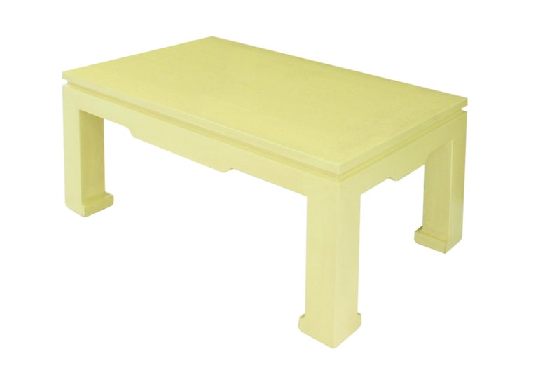"""""""Chinese Style Coffee Table"""" in Yellow Python by Karl Springer For Sale"""