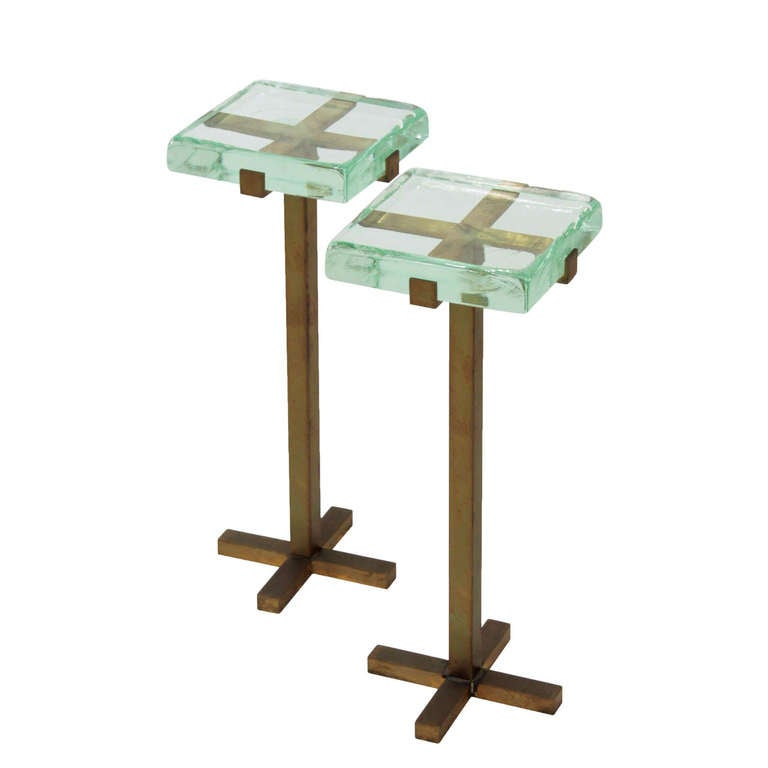 Pair of occasional tables with bronze bases and thick for Glass top occasional tables