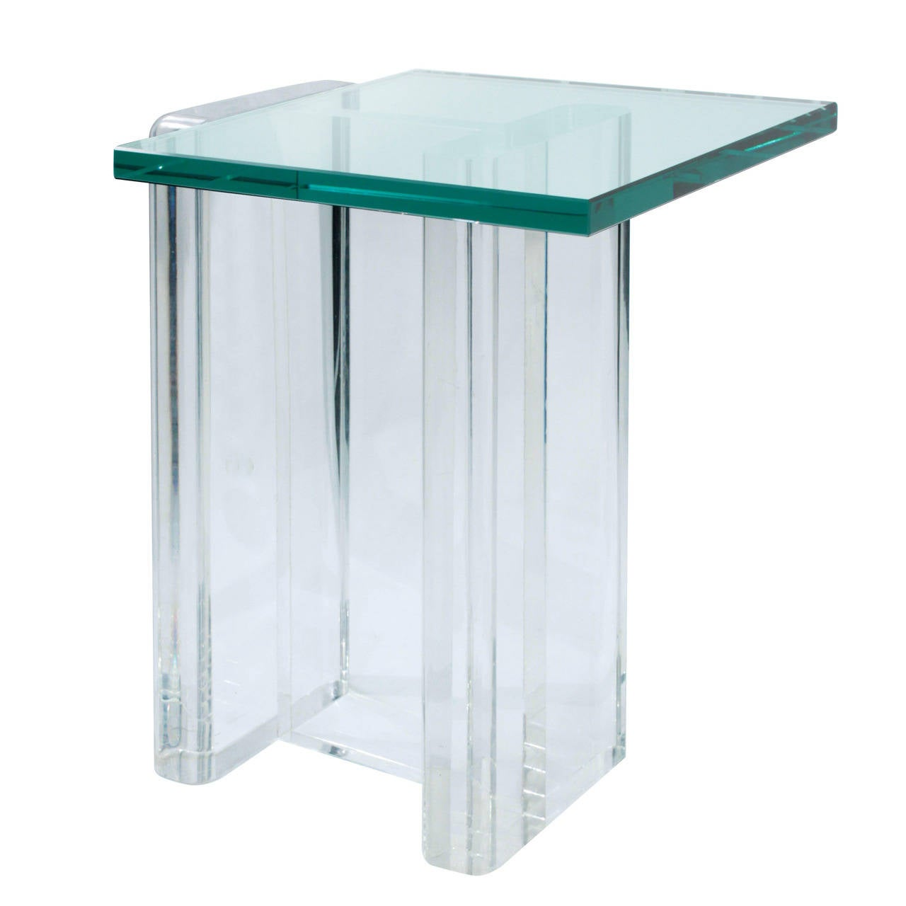 I beam lucite side table with glass top at 1stdibs for Glass top side table