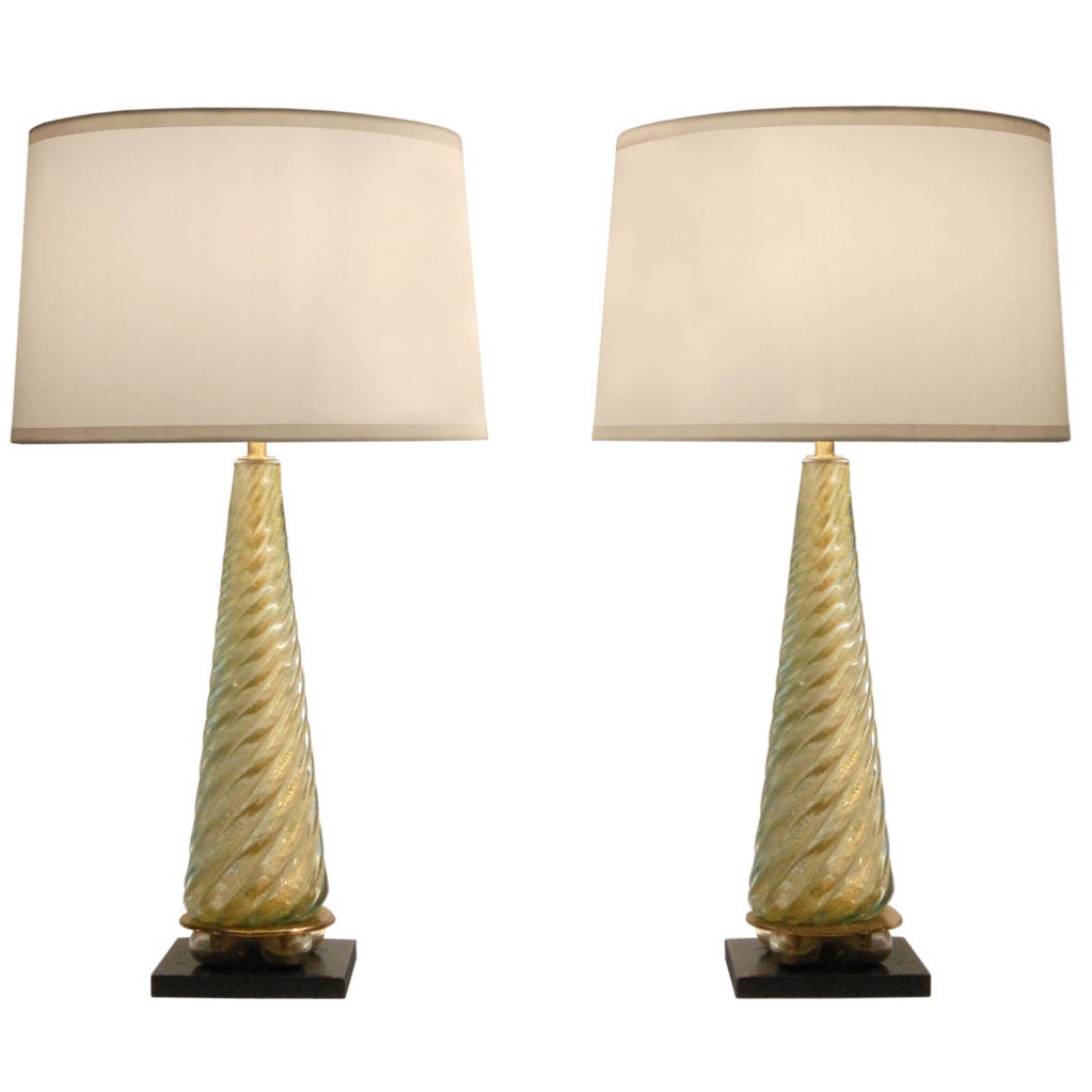this pair of hand blown glass table lamps attributed to seguso is no. Black Bedroom Furniture Sets. Home Design Ideas