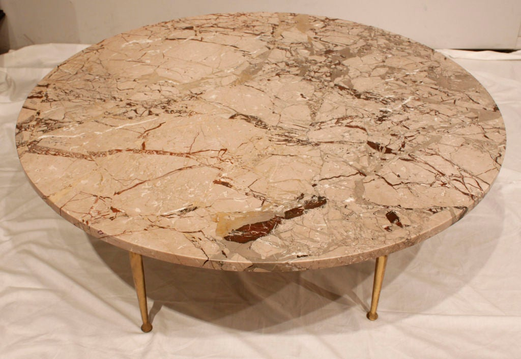 Round Coffee Table With Exotic Marble Top And Brass Legs At 1stdibs