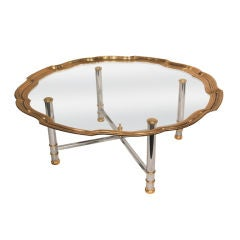 Hollywood Regency Coffee Table with Glass Tray Top
