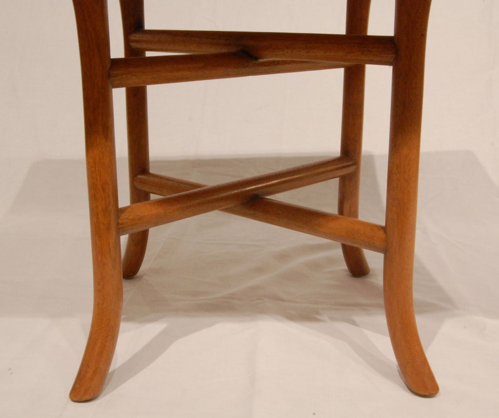 Mid-Century Modern T.H. Robsjohn-Gibbings Side Table with Double Stretchers 1950s For Sale