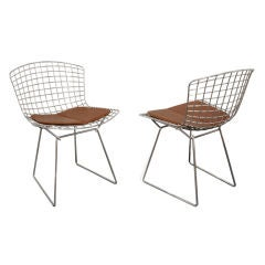 Set of 10 Dining Chairs with Custom Seat Pads by Harry Bertoia