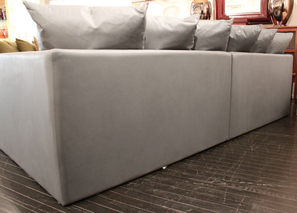 Large Sofa In Gray Leather With Pillows By Joe D 39 Urso At 1stdibs