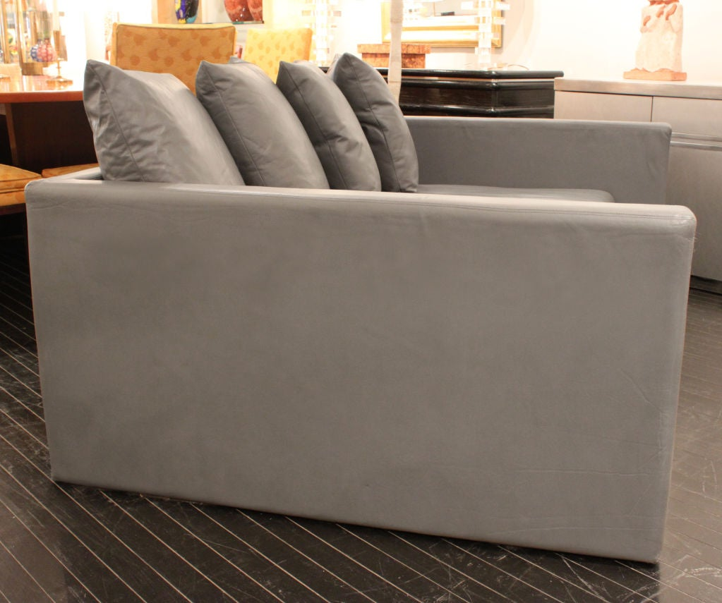 Sofa In Gray Leather With Matching Ottoman By Joe D Urso