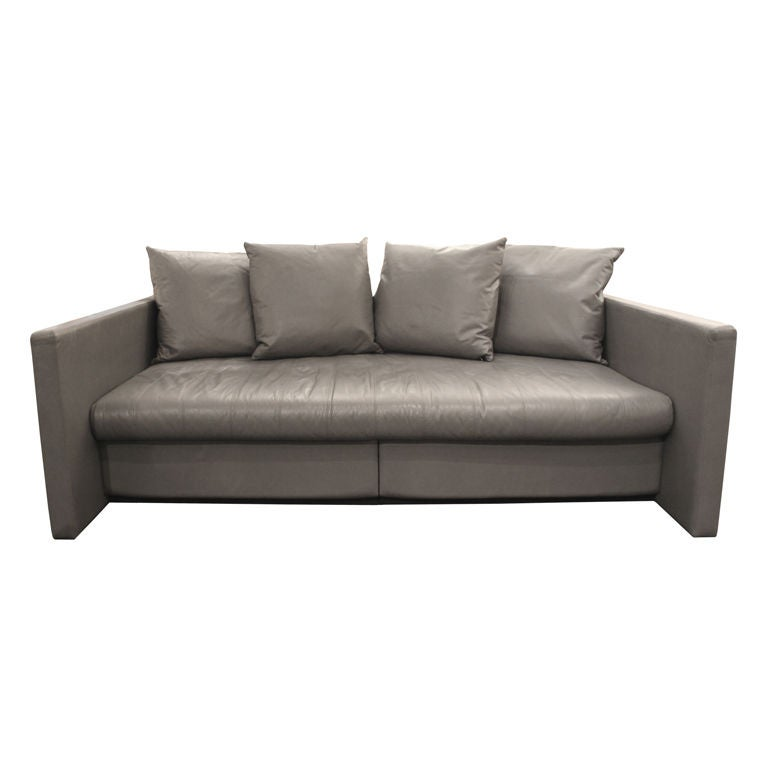 Does Sofa And Loveseat Have To Match: Sofa In Gray Leather With Matching Ottoman By Joe D'Urso