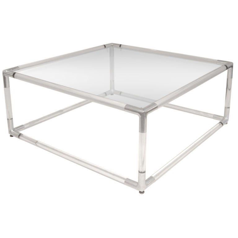 Coffee Table With Base In Lucite With Chrome Corners 1