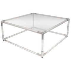 Coffee Table with Base in Lucite with Chrome Corners