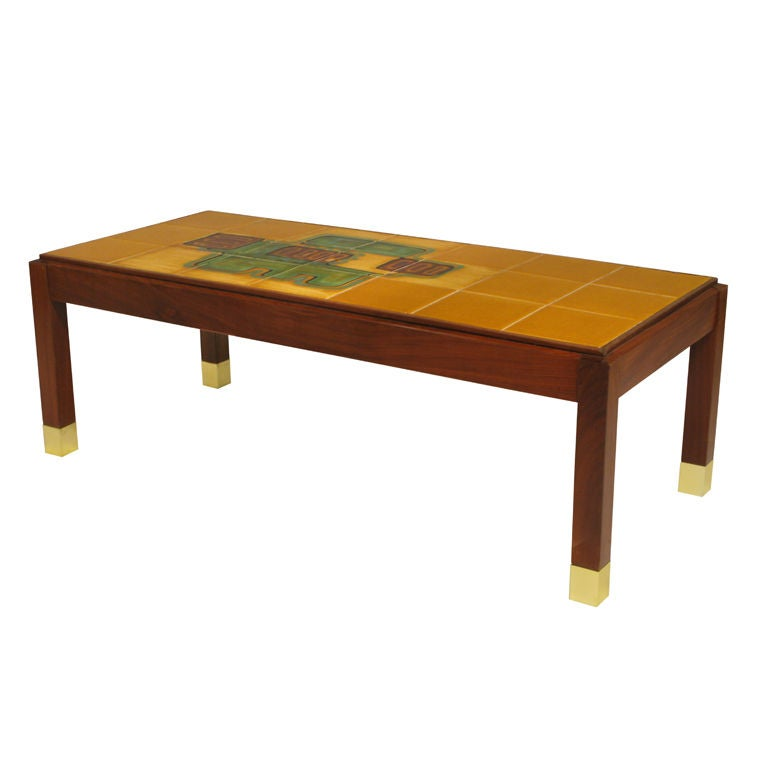 Coffee Table With Hand Painted Ceramic Tiles At 1stdibs
