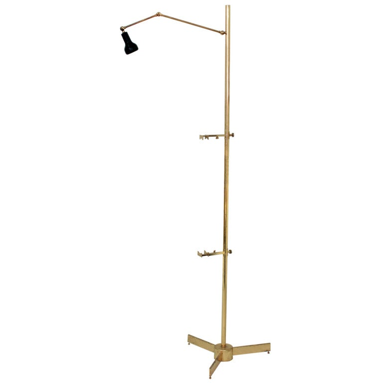 Floor Lamps Spotlight : Floor lamp in brass with picture holder and spotlight by
